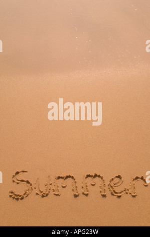 Summer written in golden sand as the glistening waves recede at the top of the frame - Stock Photo