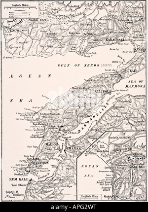 Detailed map of the Gallipoli Peninsula and the Dardanelles, Turkey in 1915 showing British and Allied landing beaches. Stock Photo