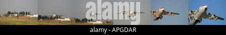 Composite image Air France Cityjet British Aerospace BAe 146 200 taking off at London City Airport UK - Stock Photo