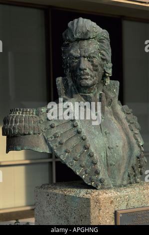 Bust of Casimir Pulaski, a Polish military commander and American Revolutionary War hero, in Little Rock Arkansas - Stock Photo