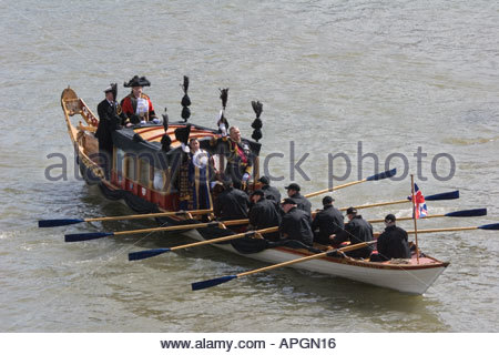 Flotilla Parade for Lord Nelson on River Thames, with funeral barge - Stock Photo