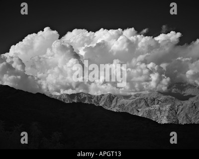 View over the Himalayan foothills and mountains from Nagarkot Kathmandu valley Nepal - Stock Photo