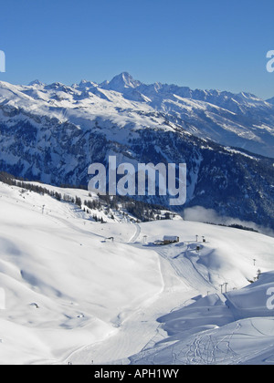 General view of some of the ski runs  at Anzere Switzerland looking toward to Crans Montana - Stock Photo