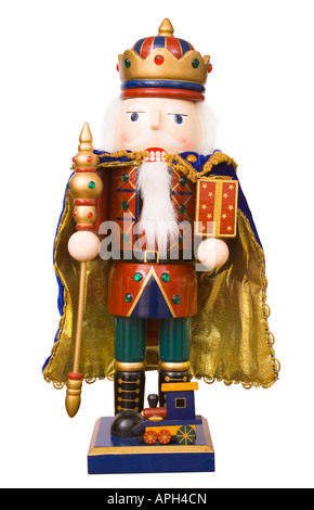 A traditional Christmas nutcracker ornament isolated on white - Stock Photo