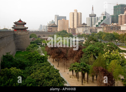 Outside the east side of City Wall Xi an China - Stock Photo