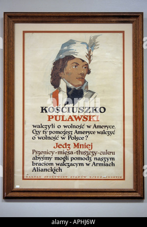 Eat Less Support Troops WW2 Polish language propaganda poster for Polish American restaurants, Kosciusko Museum - Stock Photo