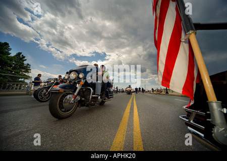 18th annual Rolling Thunder Ride for Freedom XVIII 2005 Memorial Day Washington DC. Close up wide angle view of - Stock Photo
