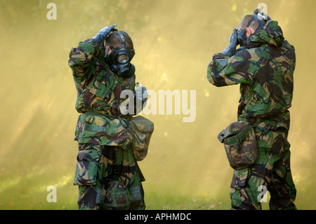 British soldiers during gas attack training exercise - Stock Photo