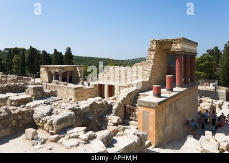 Minoan Palace of Knossos, Heraklion, Crete, Greece - Stock Photo