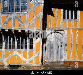Detail of timber work on the 14th century Little Hall at Lavenham in Suffolk England Now a museum - Stock Photo