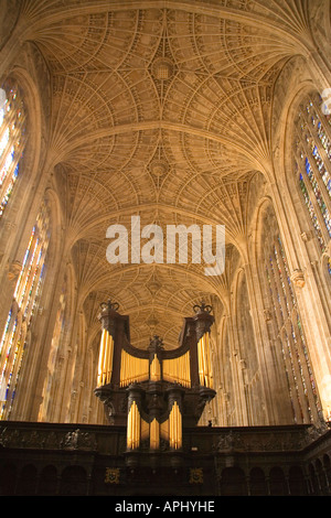 Kings King's College Chapel interior showing organ and vault ceiling Cambridge University Cambridgeshire East Anglia - Stock Photo