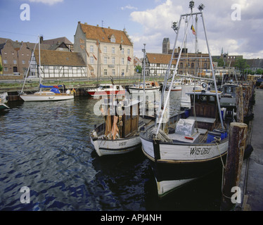 geography / travel, Germany, Mecklenburg-Western Pomerania, Wismar, fishing harbour in front of old town panorama, - Stock Photo