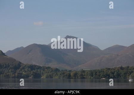 Causey Pike rising  above the west shore of Derwent Water from Friar's Crag near Keswick Cumbria England - Stock Photo