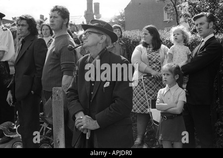 Durham Coal Miners Gala, County Durham England 1974.People watching parade. HOMER SYKES - Stock Photo