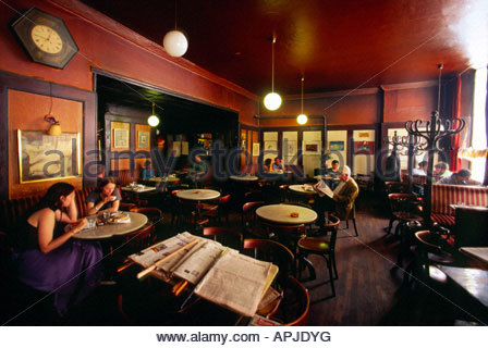 Cafe Hawelka one of the most well known Viennese cafes Vienna Austria - Stock Photo