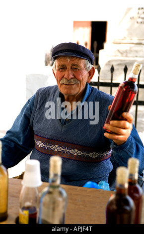 Home-made Wines for sale in the shade 'Pyrgos' 'Santorini' 'Greece' - Stock Photo