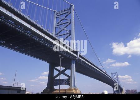 USA North America Philadelphia PA Pennsylvania The Benjamin Franklin Bridge - Stock Photo