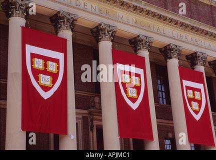 Cambridge Massachusetts New England Harvard University Banners Hanging on Widener Memorial Library Building USA - Stock Photo