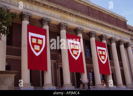 USA Cambridge Massachusetts MA Harvard University Widener Memorial Library with Banners Hanging - Stock Photo