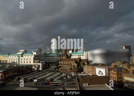 Birmingham city centre , Bullring Rotunda , St . Martins church and Selfridges , England - Stock Photo