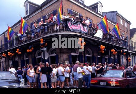 New Orleans Bourbon Street Gay Gays homo Cajun bar - Stock Photo