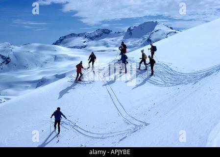 Skiers cross country skiing Downhill in Alpine Region of 'Black Tusk', near Whistler, BC, British Columbia, Canada - Stock Photo