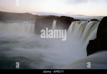 Goðafoss waterfall between Akureyri Myvatan in Iceland - Stock Photo