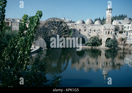 Norias (water-wheels) in the town of Hama, Syria. - Stock Photo