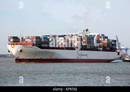 View of container shipping at the Suffolk port of Felixstowe East Anglia Britain - Stock Photo