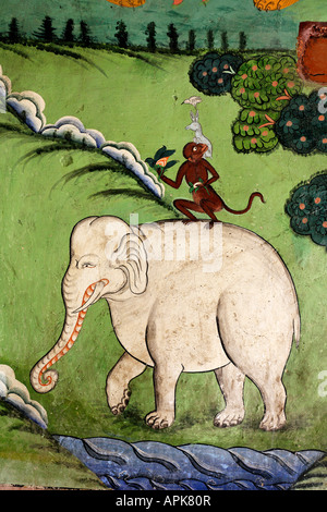 Wall painting depicting the Four Freinds inside Likir Gompa buddhist monastery in Ladakh India - Stock Photo