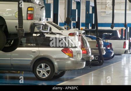 Large Automobile Car Repair Shop Garage In Dealership, USA - Stock Photo