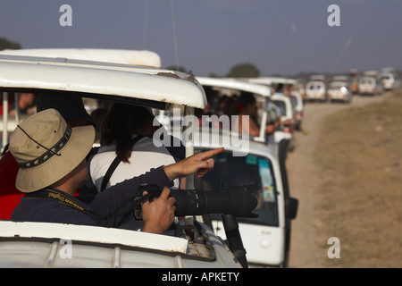 safari vehicles, Kenya, Amboseli National Park - Stock Photo