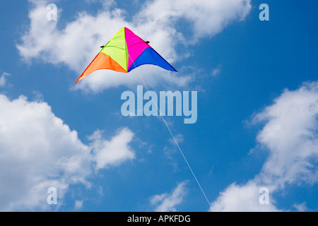 Colorful kite against sky (low angle view)