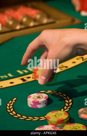 Blackjack table in Las Vegas Nevada Caesars Palace and Casino - Stock Photo