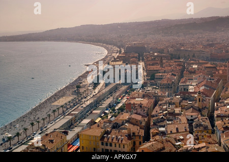 View over Nice and Promenade des Anglais  NICE  France - Stock Photo