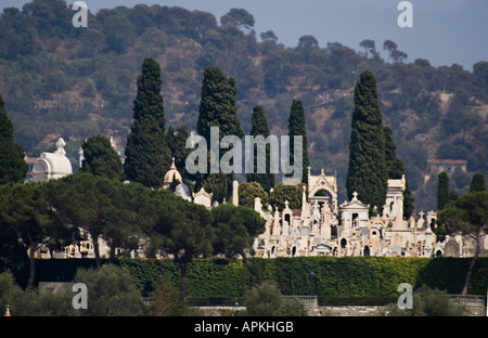 Castle Cemetery nestling on the hill above the old town Nice FRANCE - Stock Photo