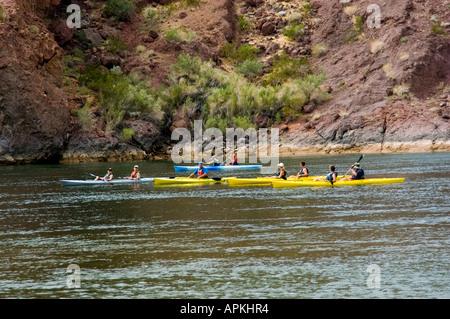 Kayaking no model release on the Colorado River below Hoover Dam on border of Arizona AZ Nevada NV - Stock Photo