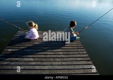 Brothers fishing - Stock Photo
