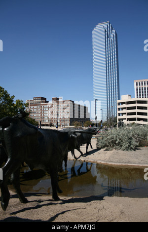 texas cattle drive sculpture in pioneer plaza dallas stock photo royalty free image. Black Bedroom Furniture Sets. Home Design Ideas