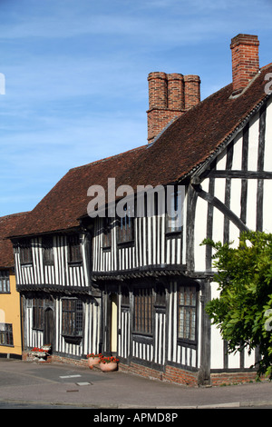 Lavenham Suffolk View of tudor houses in the High Street - Stock Photo