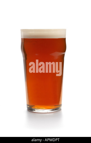 Pint of beer in straight glass - Stock Photo