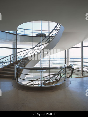 staircase at the de la warr pavilion, bexhill on sea, england - Stock Photo