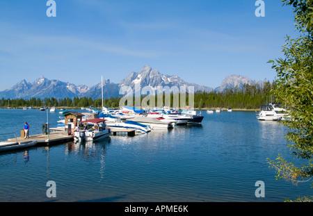 Beautiful mountains at Colter Bay marina near Jackson Hole Wyoming USA - Stock Photo