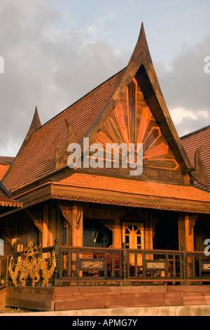 High pitch roof Thai style rooms on Hat Rin Nok Sunrise Beach Ko Pha Ngan Thailand - Stock Photo