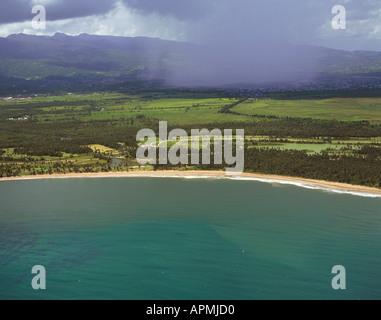 aerial cumulonimbus cumulus thunder storm rain showers in Puerto Rico - Stock Photo