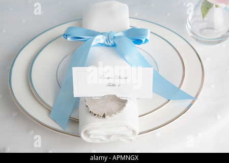 Place setting with place card - Stock Photo