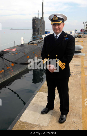 HMS Tireless nuclear submarine (S88) and Commander Edward G Ahlgren - Stock Photo