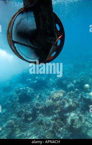 Propellor on Semi Submarine Green Island Great Barrier Reef Marine Park North Queensland Australia - Stock Photo