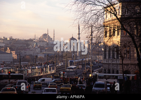 ISTANBUL, TURKEY. Rush hour in Karakoy looking across the Galata Bridge towards Eminonu. 2006. - Stock Photo