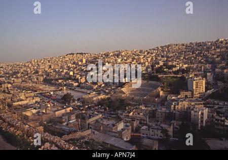 AMMAN, JORDAN. An evening view of central Amman from Jebel al Qala. 2004. - Stock Photo
